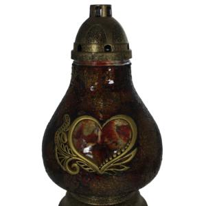Karafa brązowa elegancki lampion z sercem