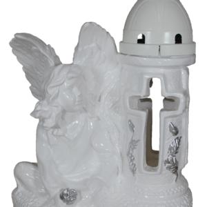 Anioł skrzydła duży lampion gipsowy biały
